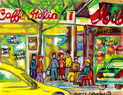 Painting - Caffe Italia And Milano Charcuterie Montreal Watercolor Streetscenes Little Italy Paintings Cspandau by Carole Spandau
