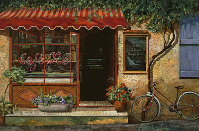 Bar Scene Painting - caffe Re by Guido Borelli