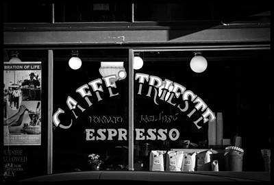 Photograph - Caffe Trieste Espresso Window Bw by Bonnie Follett