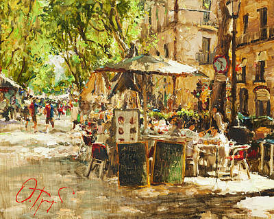 Sunshade Painting - Caffee In Barcelona by Oleg Trofimoff