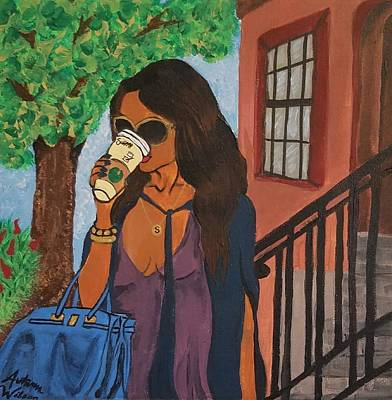 Woman Painting - Caffeinated Commute by Autumn Leaves Art