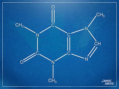 Caffeine Molecular Structure Blueprint Print by Nikki Marie Smith