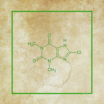 Mixed Media - Caffeine Molecular Structure Vintage by Doc Braham