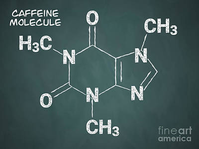 Metabolism Digital Art - Caffeine Molecule by DigitalPixel