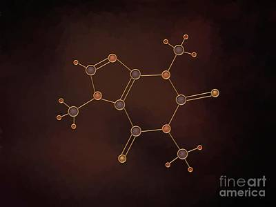 Atom Painting - Caffeine Molecule by Pet Serrano