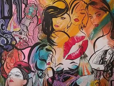 Mixed Media - Caftans And Women Collage  by Patricia Rachidi