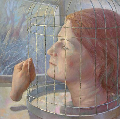 Cage Painting - Caged by Alla Parsons