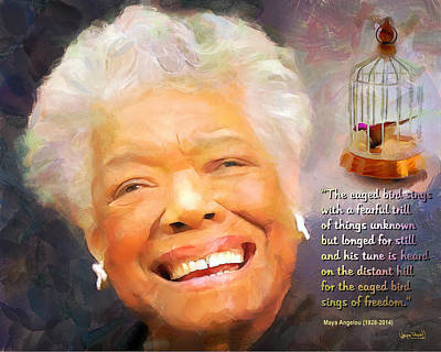 The Caged Bird Sings - Tribute To Maya Angelou Art Print by Wayne Pascall