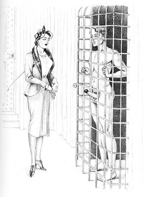 Drawing - Caged For Her Pleasure by Bernard Montorgeuil