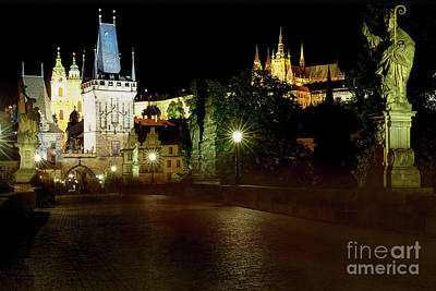 St Charles Bridge Photograph - Charles Bridge And The Prague Castle Illuminated At Night by George Oze
