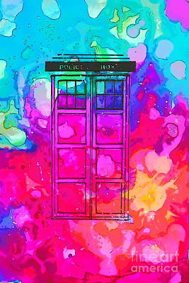 Caia's Tardis Vibrant  Art Print by Justin Moore