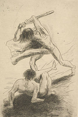 Cain And Abel Art Print by Odilon Redon