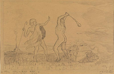 Cain Drawing - Cain Slaying Abel by Egon Schiele