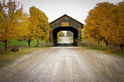 Music Royalty-Free and Rights-Managed Images - Caine Rd Covered Bridge  by Jack R Perry