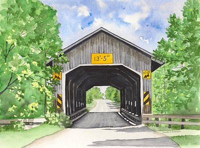 Caine Painting - Caine Road Bridge by Laurie Anderson