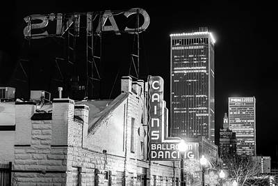 Photograph - Cains Ballroom And The Tulsa Skyline - Black And White by Gregory Ballos