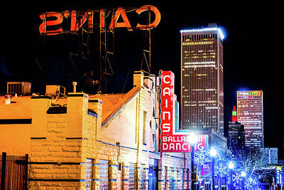 The Rolling Stones Royalty Free Images - Cains Ballroom Music Hall and the Tulsa Skyline Royalty-Free Image by Gregory Ballos