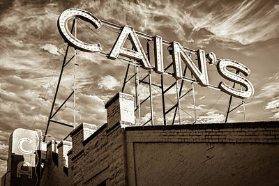 Photograph - Cains Ballroom Music Hall - Downtown Tulsa Cityscape - Sepia by Gregory Ballos