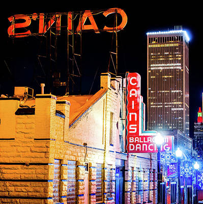 Photograph - Cains Ballroom - Tulsa Skyline Square Format by Gregory Ballos