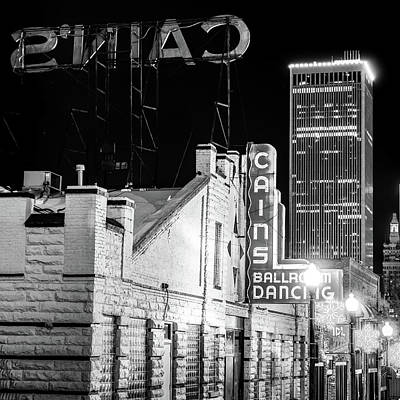 Photograph - Cains Ballroom - Tulsa Skyline Square Format In Black And White by Gregory Ballos