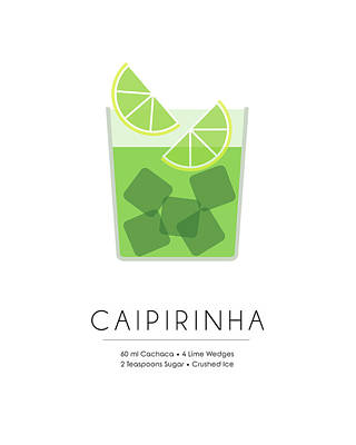 Cocktails Mixed Media - Caipirinha Classic Cocktail - Minimalist Print by Studio Grafiikka