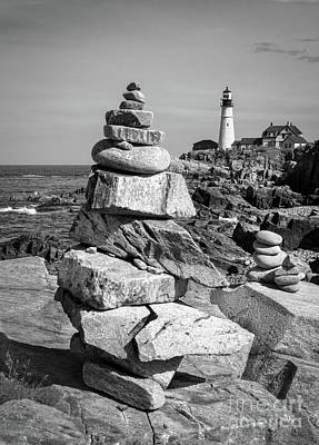 Photograph - Cairn And Lighthouse  -56052-bw by John Bald