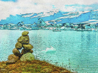 Digital Art - Cairn At The Ice Lake by Frans Blok