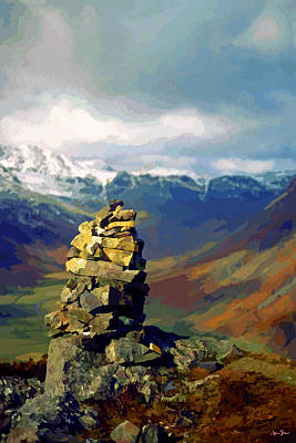 Fell Digital Art - Cairn At The Top Of Side Pike - 1 by Brian Shaw
