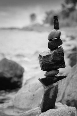Photograph - Cairn In Black And White by Heidi Hermes