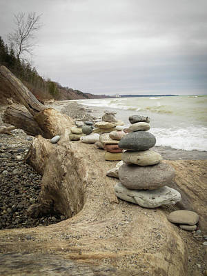 Photograph - Cairn On The Beach by Kimberly Mackowski