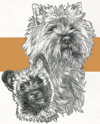 Mixed Media - Cairn Terrier And Pup by Barbara Keith
