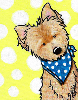 Cairn Terrier On Dotted Yellow Art Print