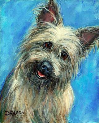 Cairn Terrier Smiling On Blue Art Print by Dottie Dracos