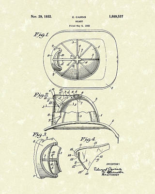 Drawing - Cairns Helmet 1932 Patent Art by Prior Art Design