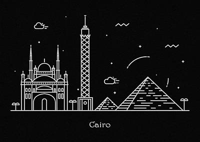 Abstract Landscape Drawing - Cairo Skyline Travel Poster by Inspirowl Design