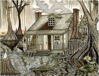Molly Drawing - Cajun Swamp House On The Bayou by Molly Reed