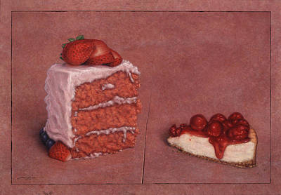 Strawberries Drawing - Cakefrontation by James W Johnson