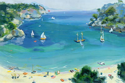 Boating Painting - Cala Galdana - Minorca by Anne Durham