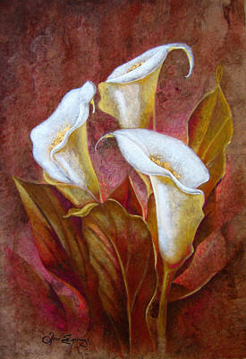 Cala Lillies Bouquet Art Print by J- J- Espinoza