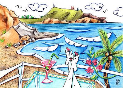 Libro Drawing - Cala Plomo Costa Del Sol - Parque Natural Cabo De Gata Almeria by Arte Venezia