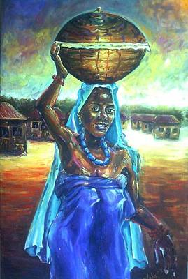 Painting - Calabash Lady In Blue by Wale Adeoye