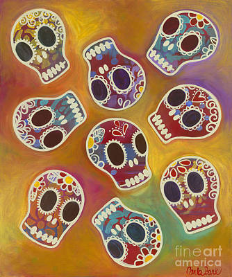 Painting - Calaberitas Day Of The Dead Skulls by Carla Bank