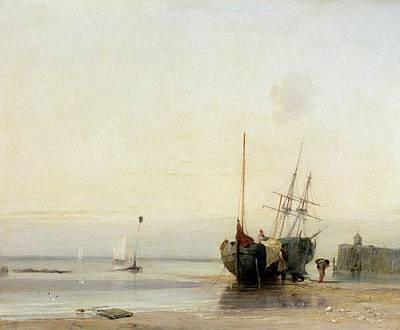 North Sea Painting - Calais Pier by Richard Parkes Bonington