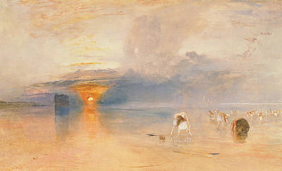 Sunrise At The Beach Painting - Calais Sands At Low Water by Joseph Mallord William Turner