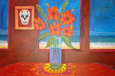 Painting - Calavera In Paradise by Manny Chapa