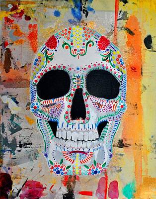 Print featuring the painting Calavera by Josean Rivera