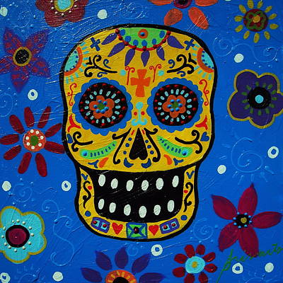 Folk Painting - Calavera by Pristine Cartera Turkus
