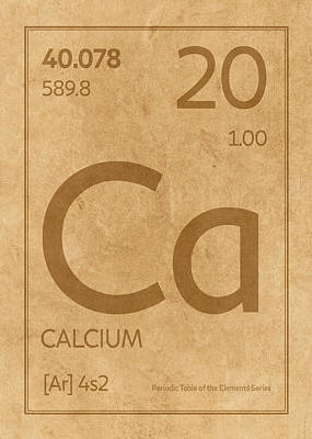 Periodic Table Wall Art - Mixed Media - Calcium Element Symbol Periodic Table Series 020 by Design Turnpike
