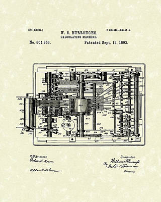 Numbers Drawing - Calculator 1893 Patent Art by Prior Art Design