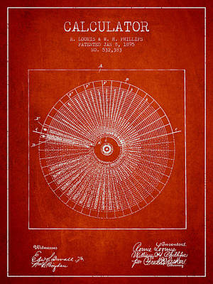 Calculator Patent From 1895 - Red Art Print